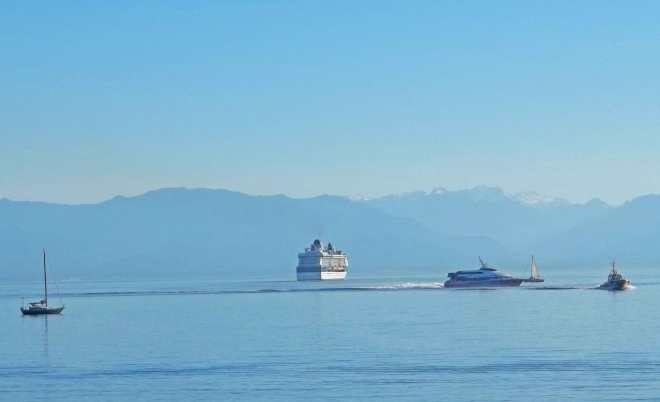 Pacific ~Shores view from Ogden Point off Victoria BC Breakwater