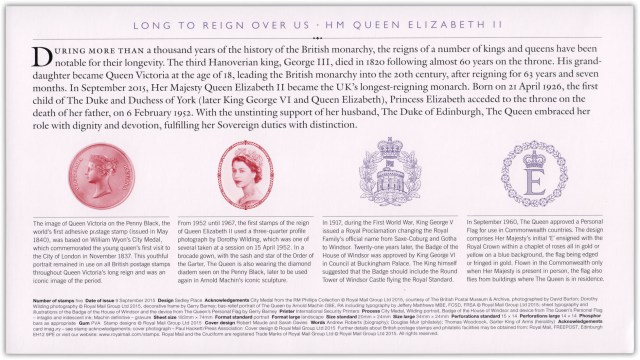 Stamps Cover FDC UK 2015-09-09 HM Queen Elizabeth II